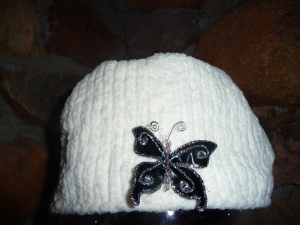 Acrylic Warm Hat with butterfly